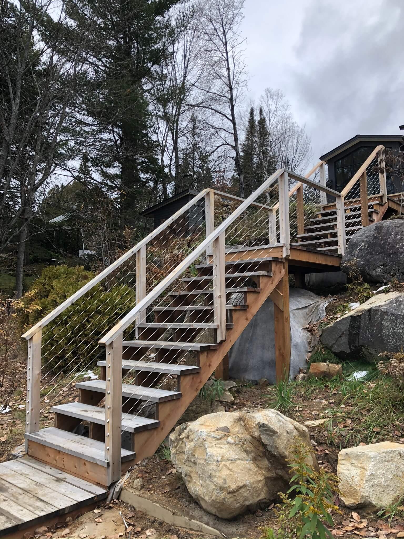 exterior staircase in white cedar