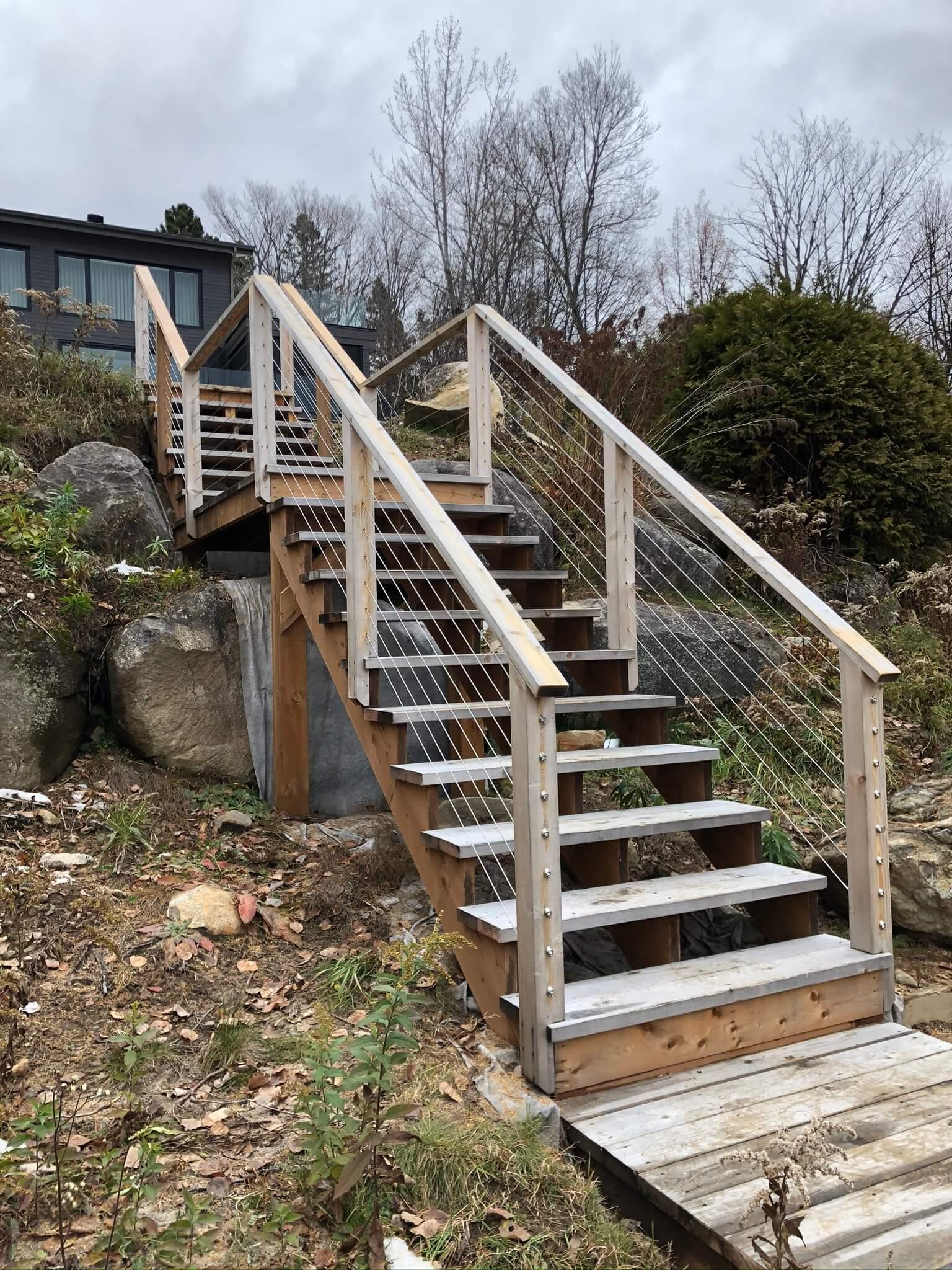 exterior staircase in white cedar 02