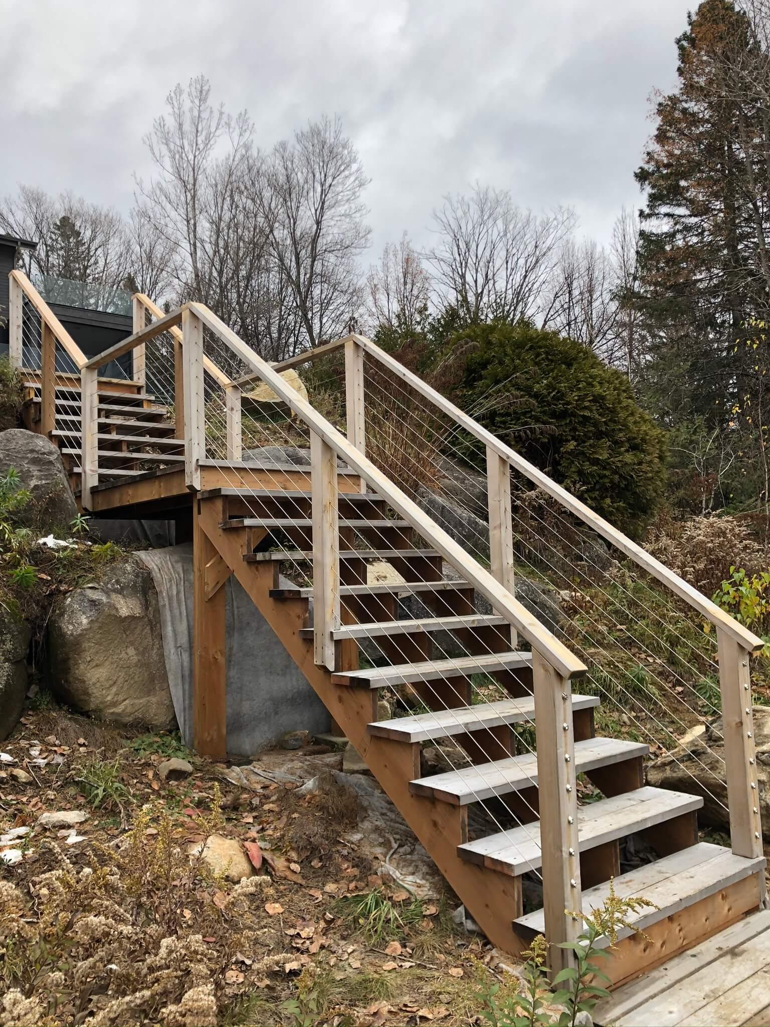 exterior staircase in white cedar 03