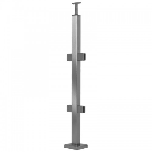 square stainless steel post with clamps for 10-mm glass